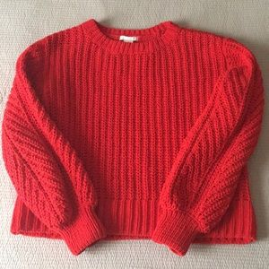 H and m red knit sweater